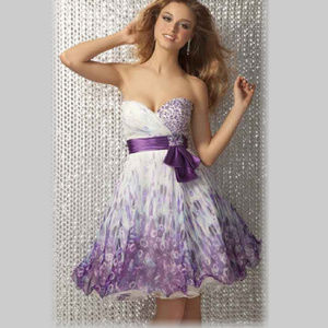 NWT Short Strapless Prom Print Dress Size 0